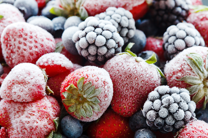 Frozen blueberries and strawberries