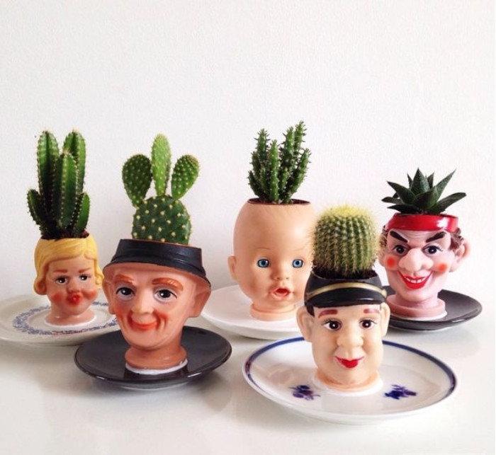 weird doll head cacti planters