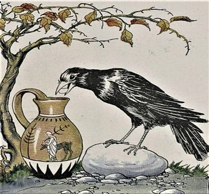 illustration of a crow putting something in a jar