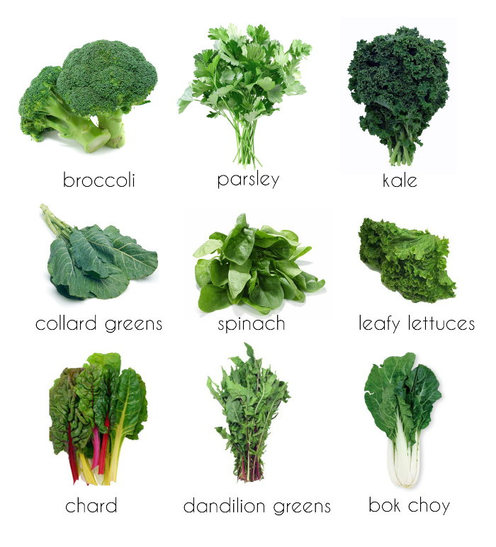 types of green vegetables