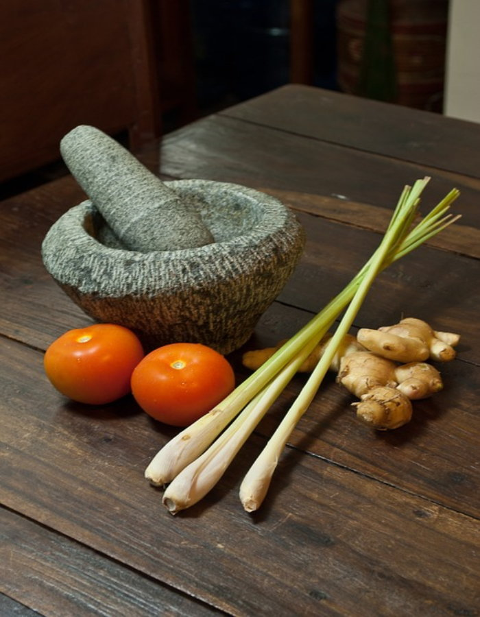 lemongrass stems on counter with vegetables