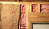 fiberglass insulation installed in wall framing