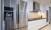 A stainless steel fridge