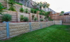 A backyard with a terraced landscape.