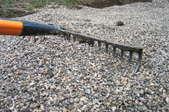 A crushed rock driveway.