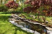 Lush Garden Back Yard With Stone Edged Pond