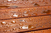 water droplets beading up on a deck