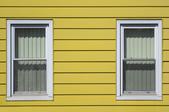 yellow aluminum siding on a house