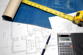 house plans, tape measure, and calculator.