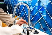 Bright blue kitchen backsplash
