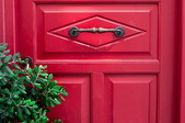 red door with greenery to the left