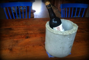 A concrete wine chiller.