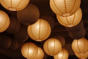 Hung paper lanterns.