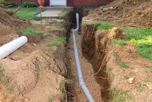 sewer lines leading from the house