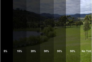 various percentages of window tint