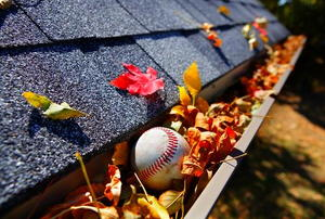 A gutter full of colorful, fall leaves and a baseball.