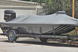 a covered boat trailer