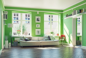 A room painted in the color green.