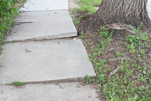 a concrete sidewalk
