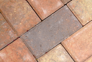 Looking closely at a normal formation of laid brick pavers.