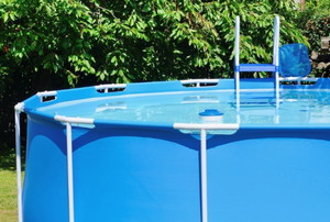 Blue above-ground pool