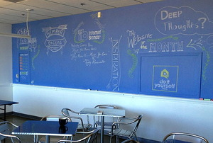 Office break room with chalkboard wall
