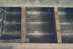 Exposed floor joists under an old floor.