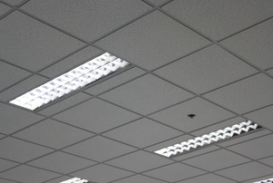 A pair of fluorescent lights in a tiled ceiling.