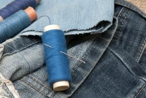 thread, needles and denim