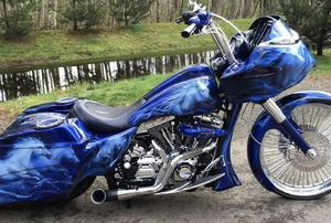 A blue motorcycle.