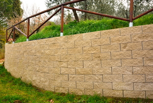 Brown stone retaining wall