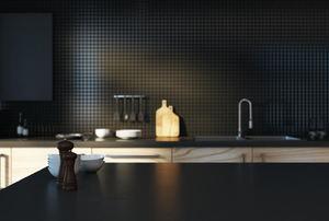 A modern black kitchen.
