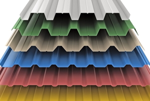 roofing samples in white, green, tan, blue, red, and yellow