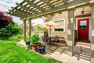 shaded backyard patio area
