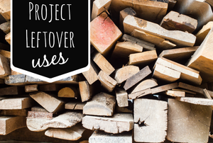 "A scrap wood pile with the words ""project leftover uses."""