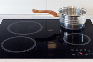 A pot on an electric stovetop in the kitchen.
