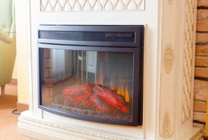 An electric fireplace.