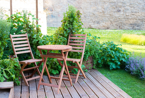 Wooden patio chairs and table