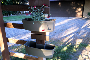Downpipe Garden set up on wooden post