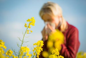 A woman sneezing next to yellow flowers.