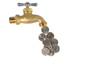 A faucet with coins instead of water.