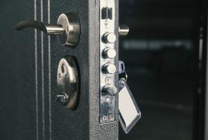 A metal door.