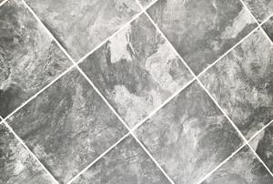 Vinyl tile floors.