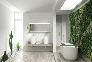 a bathroom with a green wall on the right