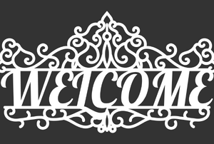 black mat with white welcome message