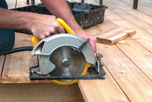 Cutting deck boards with a circular saw