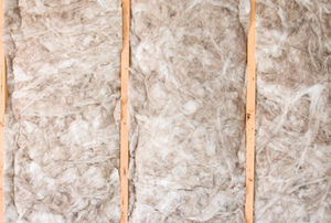 fiber insulation in an unfinished ceiling