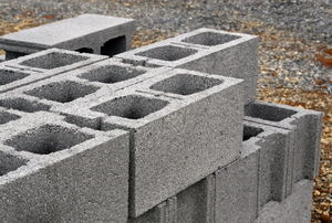 Stacked aerated concrete blocks.