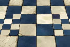 cracked blue and white tiles