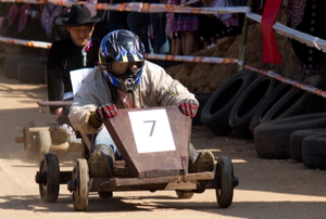 a person in a Go Kart